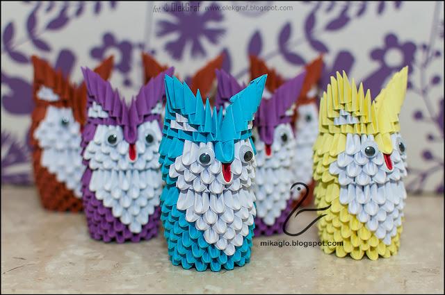 566. Sowy z origami / 3d origami owls