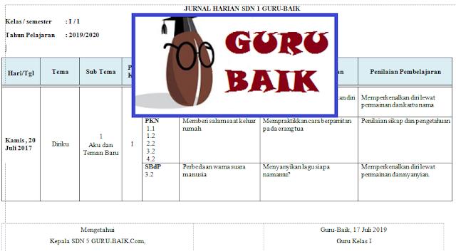 Jurnal Harian Kelas 1 Semester 1 Kurikulum 2013 Revisi 2018 (Tematik)