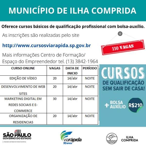 Inscrições para cursos de qualificação profissional com bolsa auxílio , na Ilha Comprida, podem ser feitas pelo site