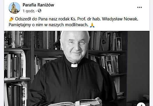 Nie żyje znany kapłan pochodzący z Raniżowa