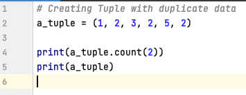 Count the number of occurrences in a Tuple