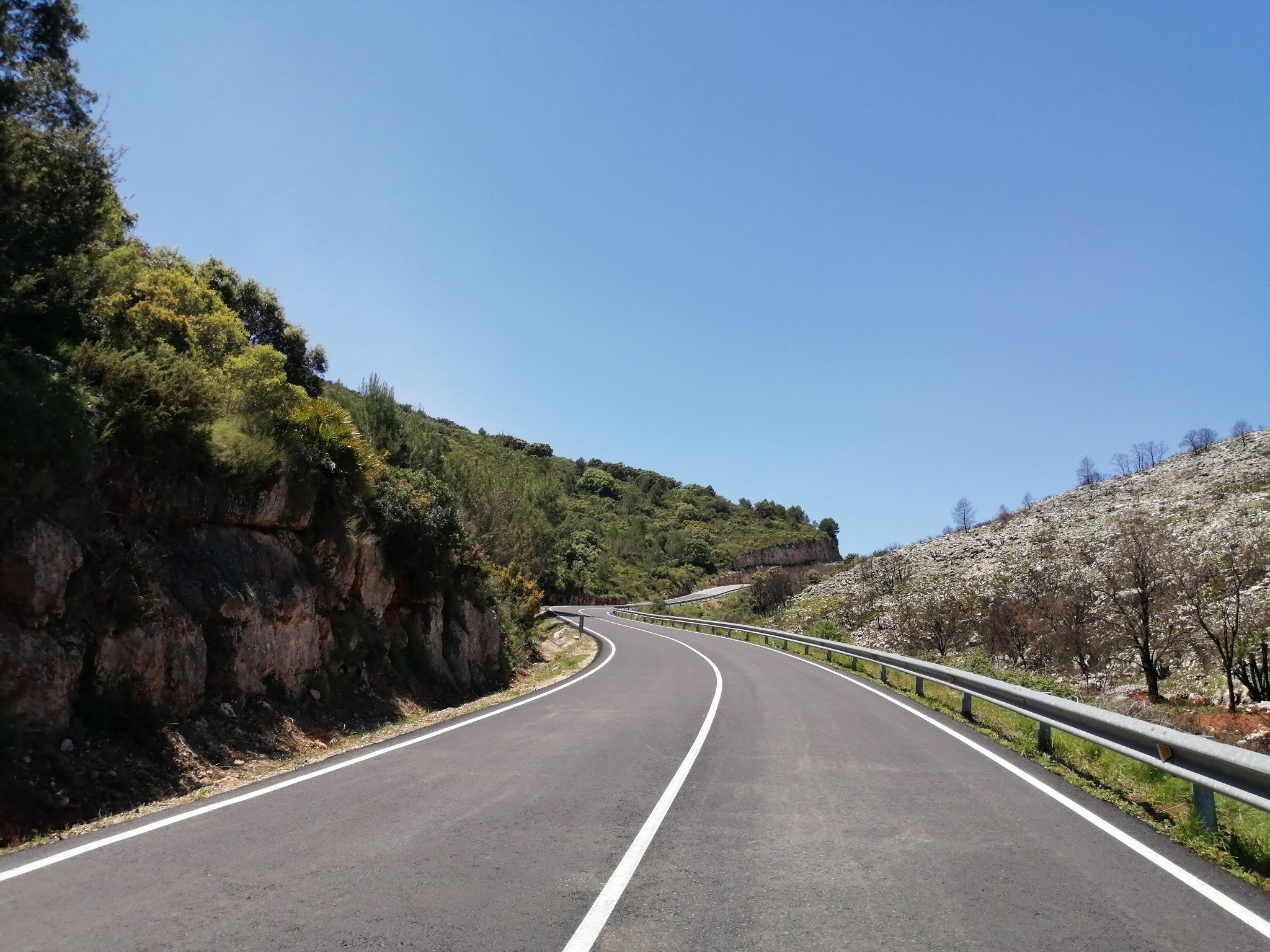 Charred mountainside on the final stretch of Puerto la Llacuna, Valencia