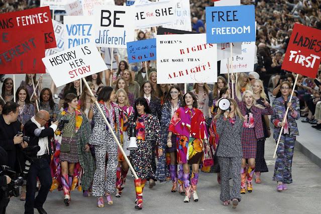 Chanel, Fashion Show, Feminist Protest, Paris, France, Paris Fashion Week, Grand Palais, Models, Fashion Show, Venue