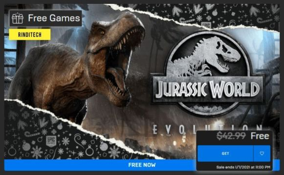 Claim immediately! Jurassic World Evolution FREE from the Epic Games Store