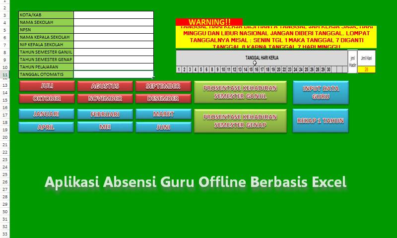 Download Gratis Aplikasi Absensi Guru Model Offline Berbasis Excel