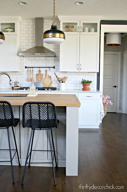 white kitchen cabinets wood countertops