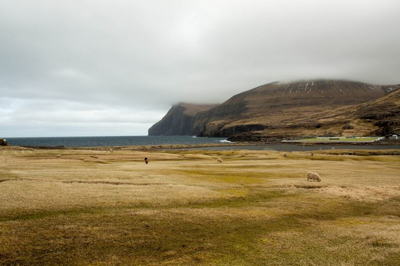 Eidi Stadium is located just a few meters from the Atlantic Ocean, the venue for matches of semi-professional football team of the Faroe Islands.