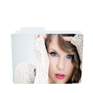 Preview of Taylor Swift, pink lips, white dress, folder icon