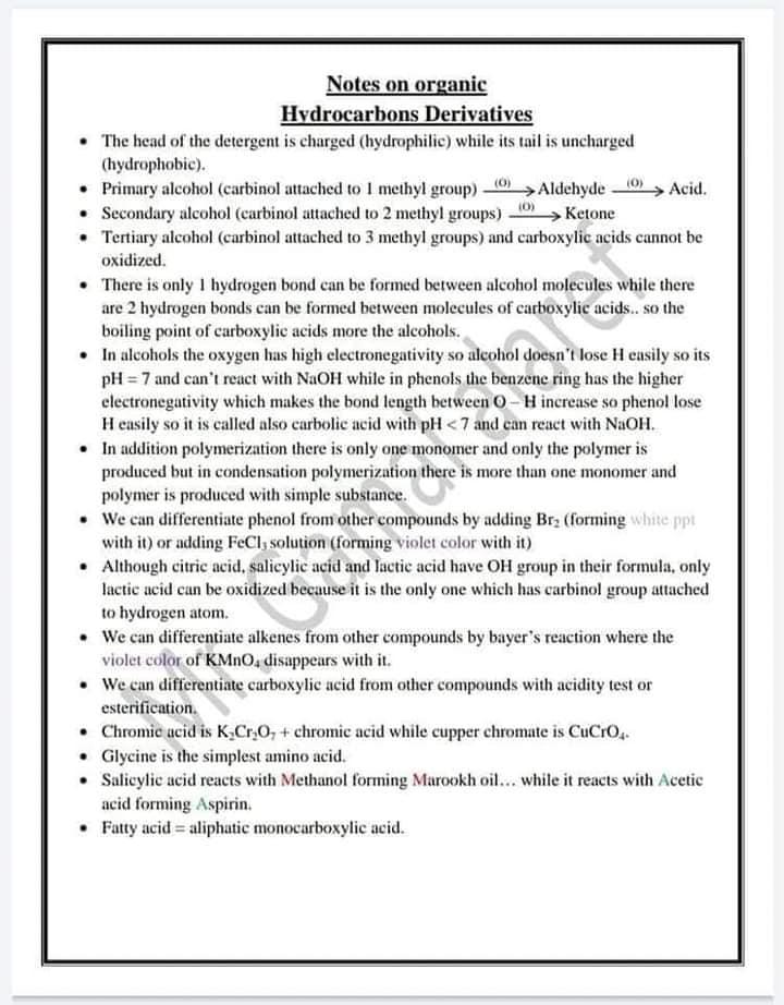 ملخص قوانين Chemistry للثانوية العامة لغات 5