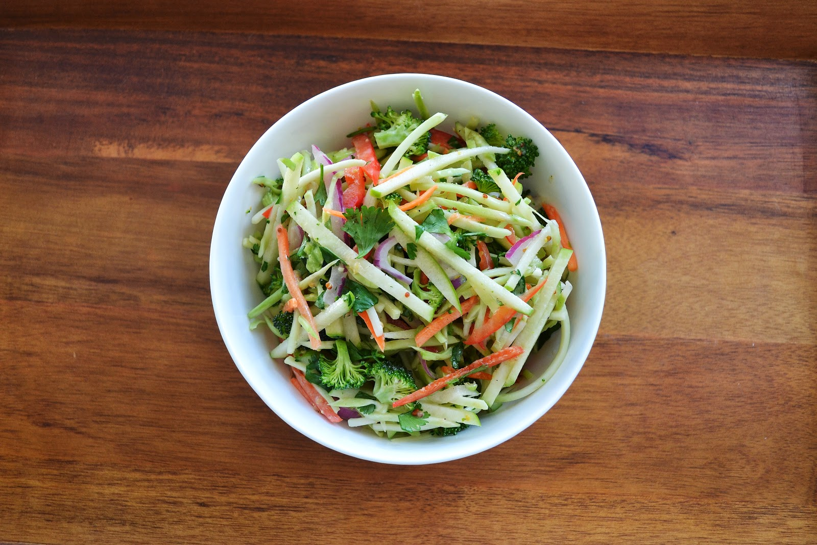 summer broccoli and apple slaw with dijon agave dressing