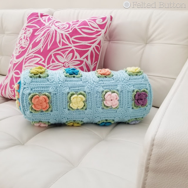 Primrose Pillow crochet pattern by Susan Carlson of Felted Button