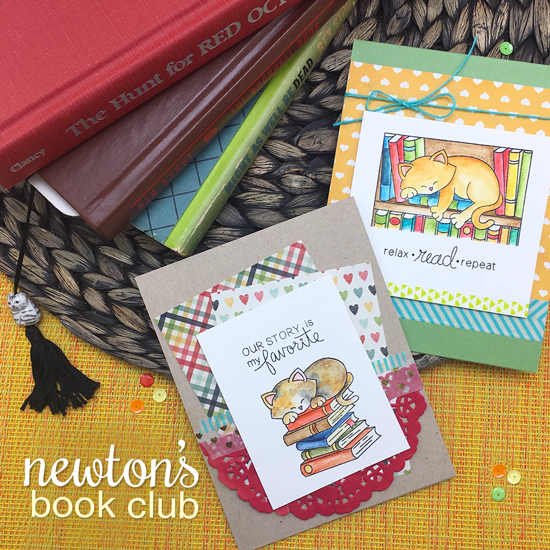 Cat and Book Cards by Jennifer Jackson | Newton's Book Club Stamp set by Newton's Nook Designs #newtonsnook
