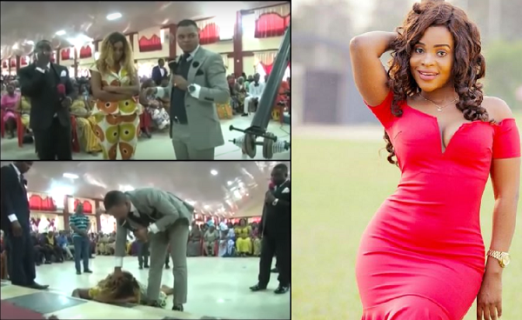 Bishop Obinim allegedly casts out demonic spirit from Ghanaian actress Benedicta Gafah (video)