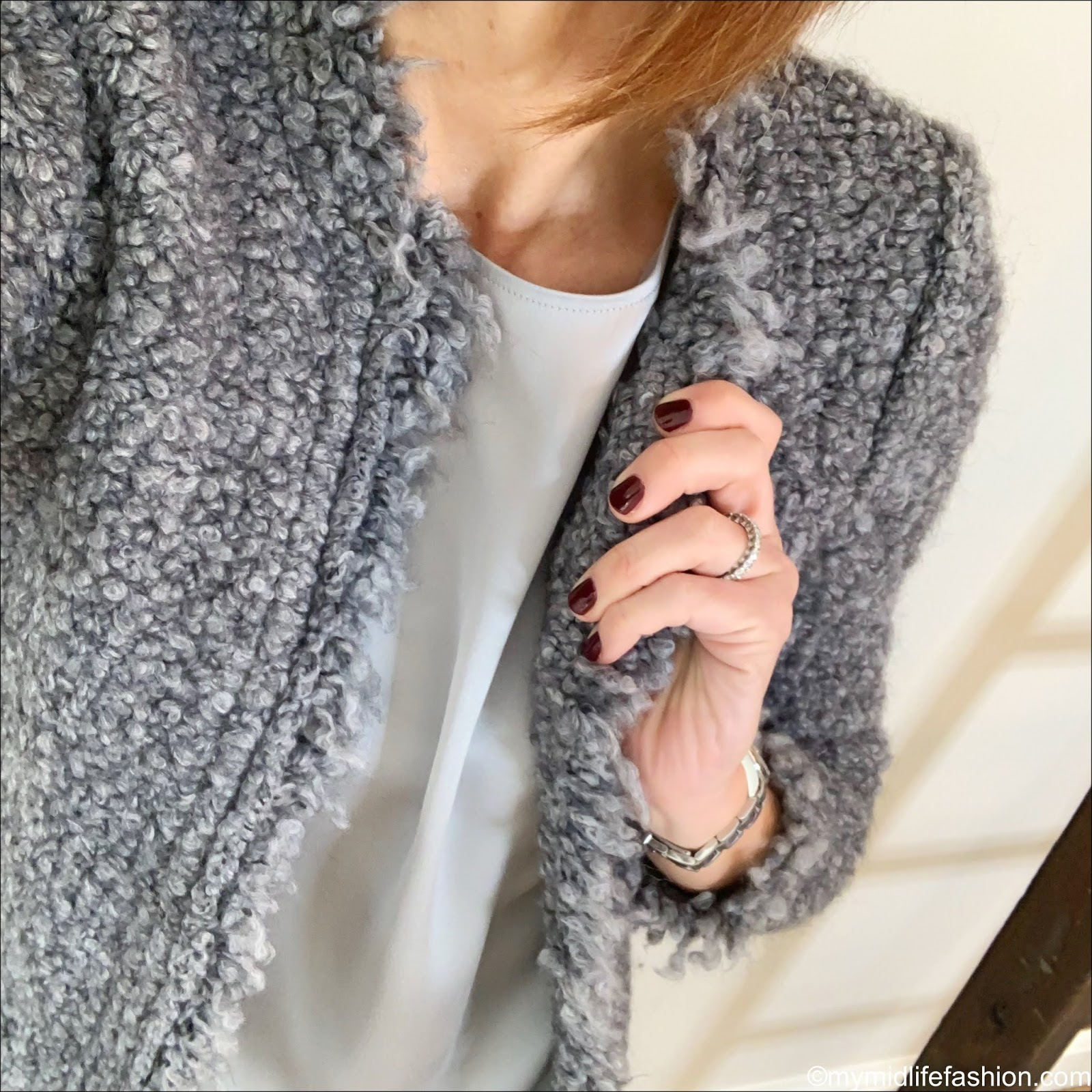 my midlife fashion, iro knitted jacket, marks and spencer pure silk round neck short sleeve shell top, j crew distressed jeans, j crew suede pointed tassel flats