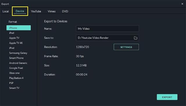 Ekspor sesuai perangkat dalam filmora versi 9