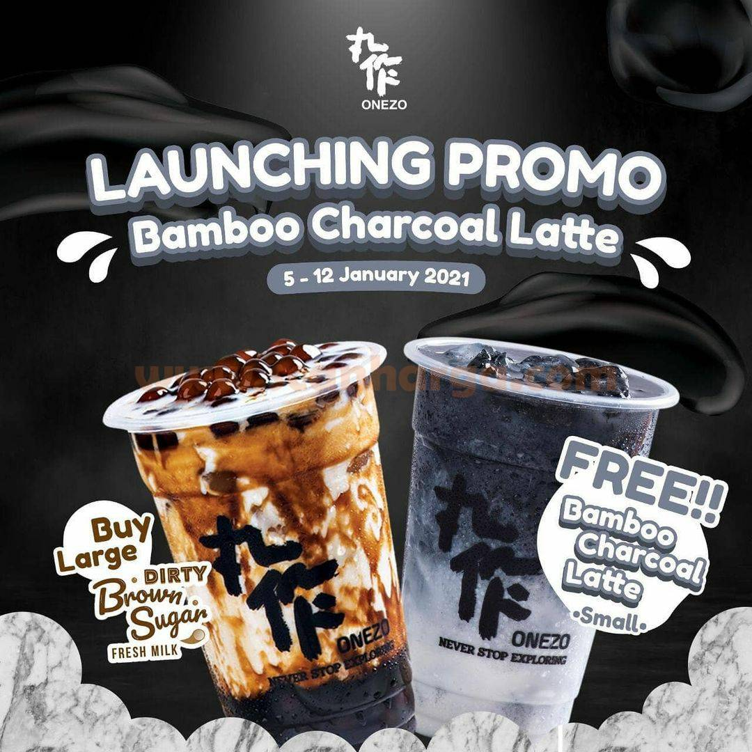 Onezo Launching Promo Bamboo Charcoal Latte