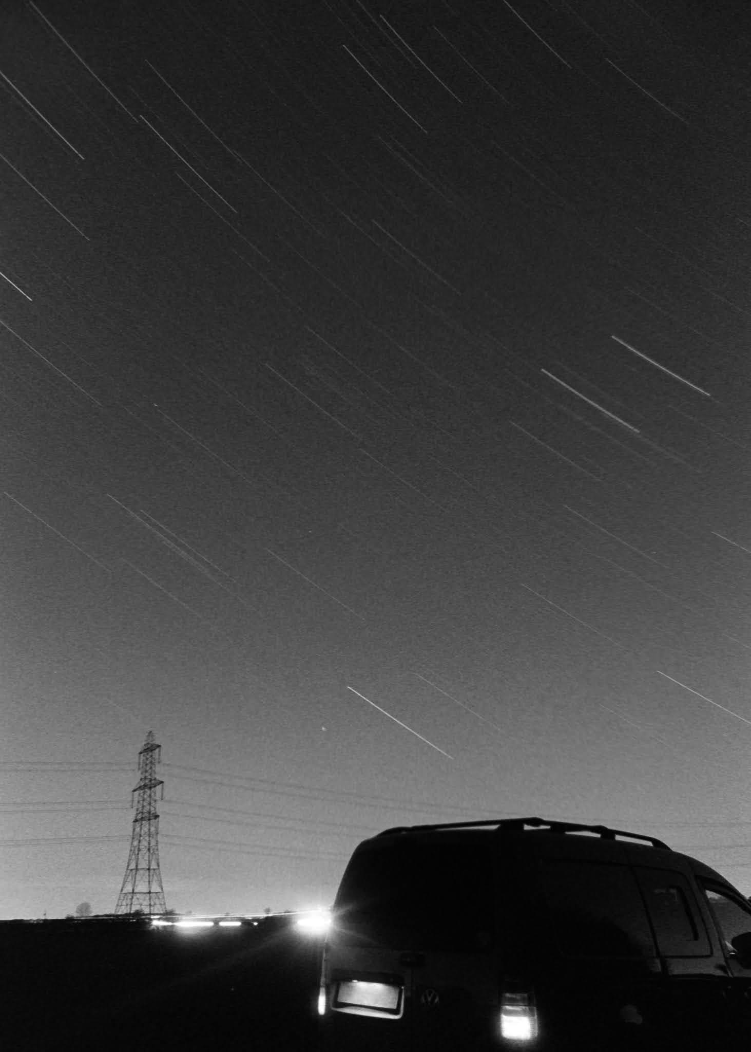 Black and white Kodak T-MAX 400 film. Long exposure of star trails