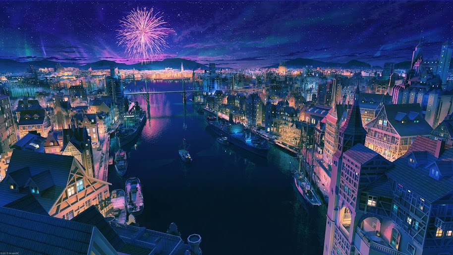 Anime, City, Night, Fireworks, Scenery, 4K, #182