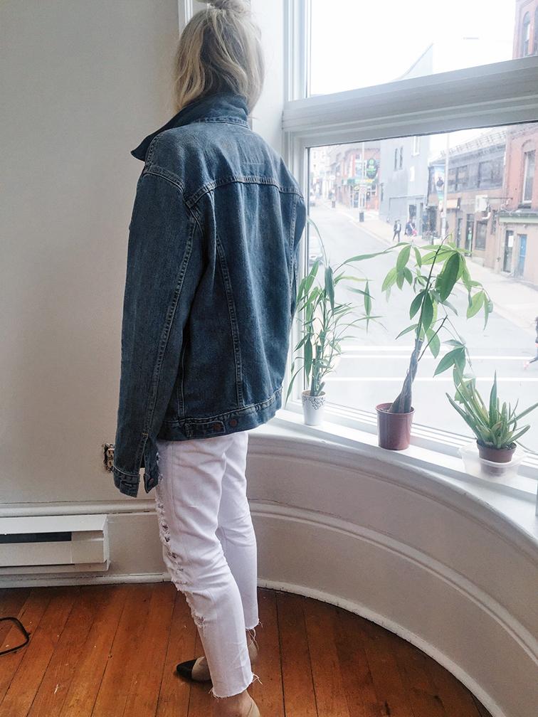 heleneisfor, monochromatic, Rag&Bone top, Levis trucker jacket, Chanel kitten heels