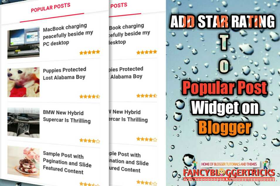 Add 5 Star Rating to Popular Post Widget on Blogger