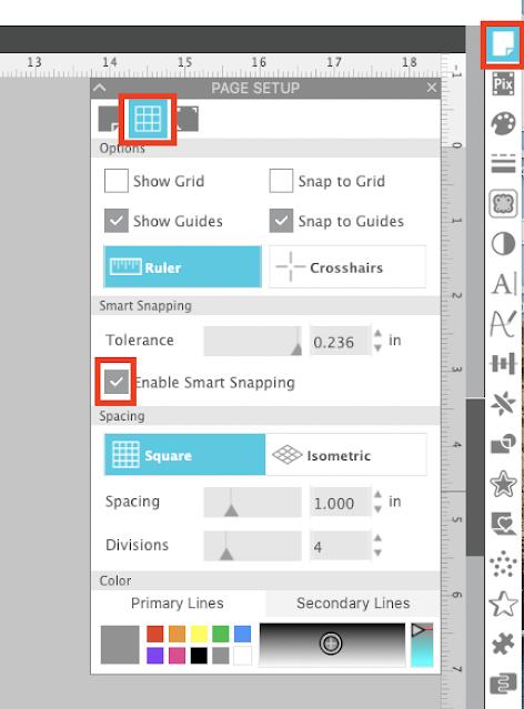 smart snaps, page setup panel, silhouette studio, smart snapping, silhouette studio v4, cameo 4