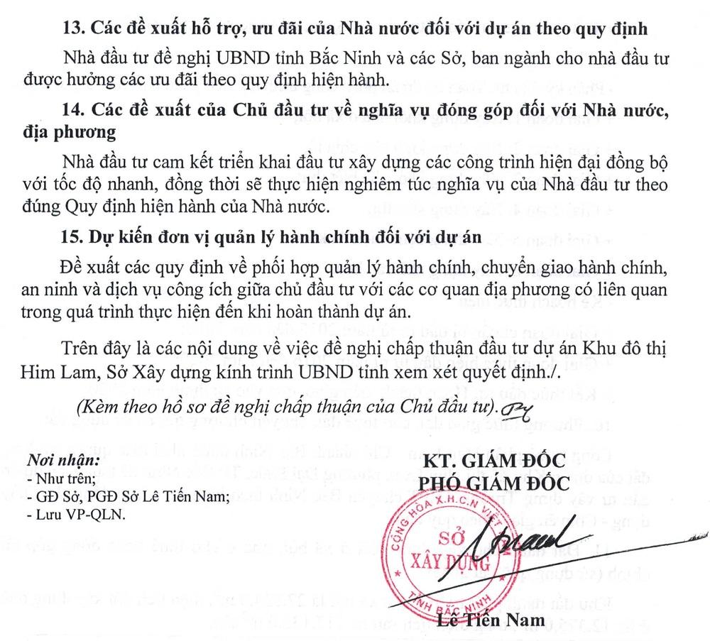 Tờ trình chấp thuận đầu tư dự án Him Lam Green Park