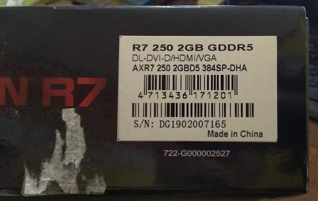 belakang box VGA Powercolor Radeon R7 250 2GB DDR5 128Bit