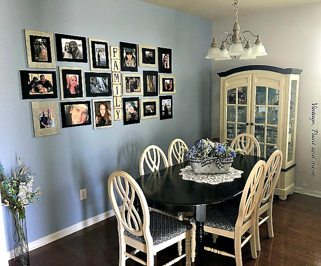 Vintage, Paint and more... dining room makeover done with black chalk paint , fabric and a new gallery picture wall