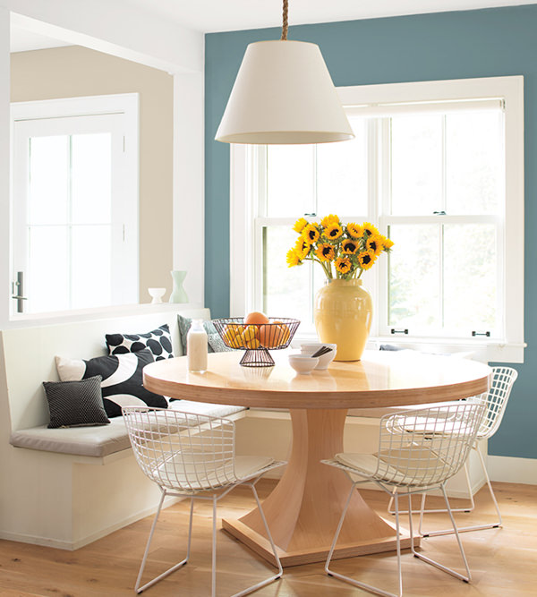 dining area with walls painted in Benjamin Moore Aegean Teal