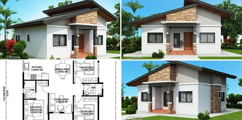 Plano de una casa de tres dormitorios