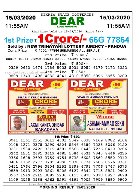Lottery Sambad Result 15.03.2020 Dear Love Morning 11:55 am