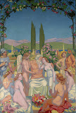 Panel 5. In the Presence of the Gods Jupiter Bestows Immortality on Psyche and Celebrates Her Marriage to Eros by Maurice Denis - Religious Paintings from Hermitage Museum