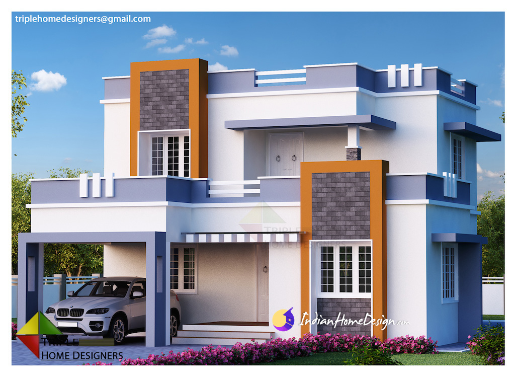 Indian Home Design: 1987 Sqft 3 Bedroom Contemporary Indian Home Design