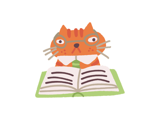 An orange cat and its book