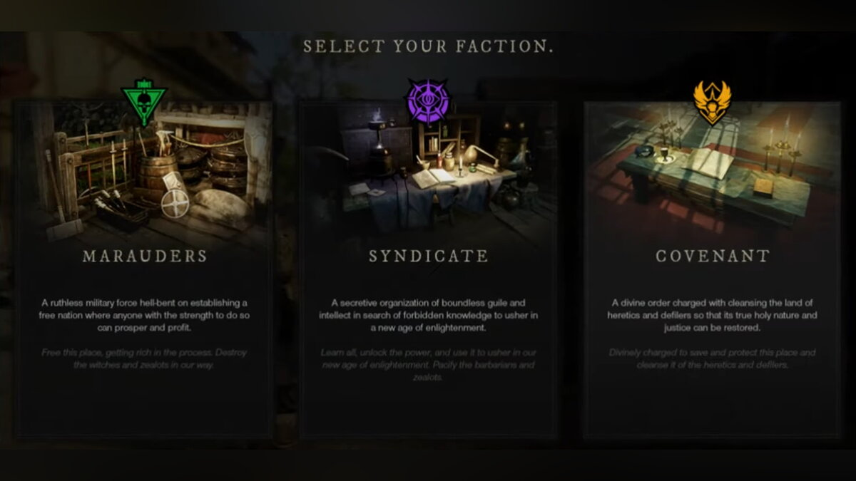 What factions are available in New World. How do they differ from each other