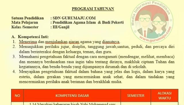 Download Prota PAI Kelas 3 Semester 1 SD K13 Revisi 2021