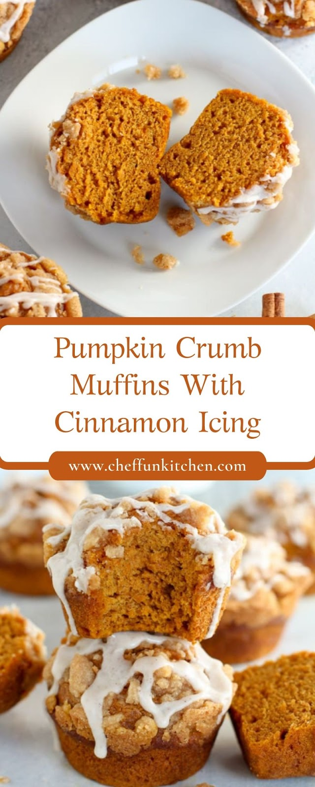 Pumpkin Crumb Muffins With Cinnamon Icing