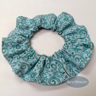 Blue Hearts and Stars Valentine Dog Scrunchie Ruffle