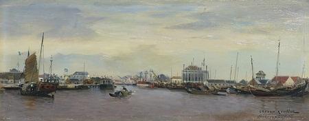 Tranh vẽ  Hải Phòng của họa sỹ Gaston Roullet