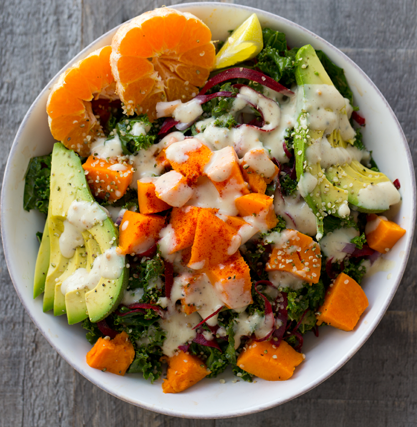 Avocado Sweet Potato Kale Salad with Sweet Pickled Red Onions