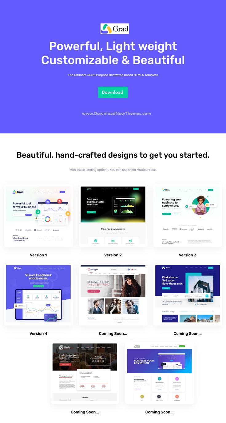Multipurpose Sass Landing Pages Template