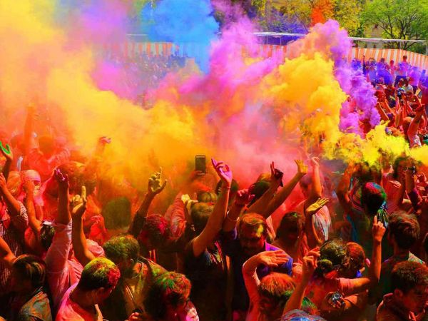 Holi Feastival In India - Gods and devotees painted in Abir-Gulal from Baba Mahakal to Banke-Bihari Temple