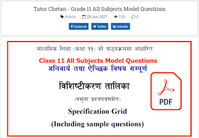 Grade 11 All Subject Model Question Collection