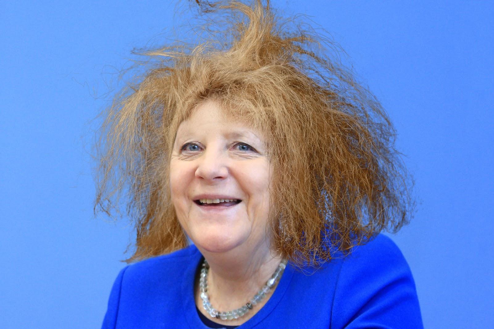 Merkel mit Wuschelkopf