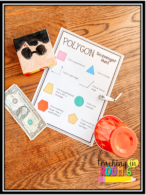 Having the kids find objects that fit the attributes of the different polygons is a fun way to get them looking at shapes.