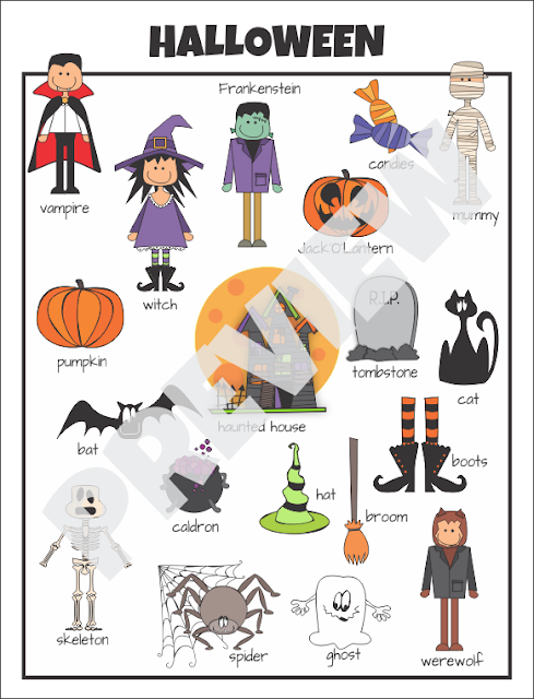 Halloween Vocabulary Chart