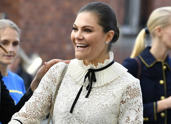 Crown Princess Victoria wore a blouse and trousers from Erdem x H&M Collection. Erdem cooperation of H&M