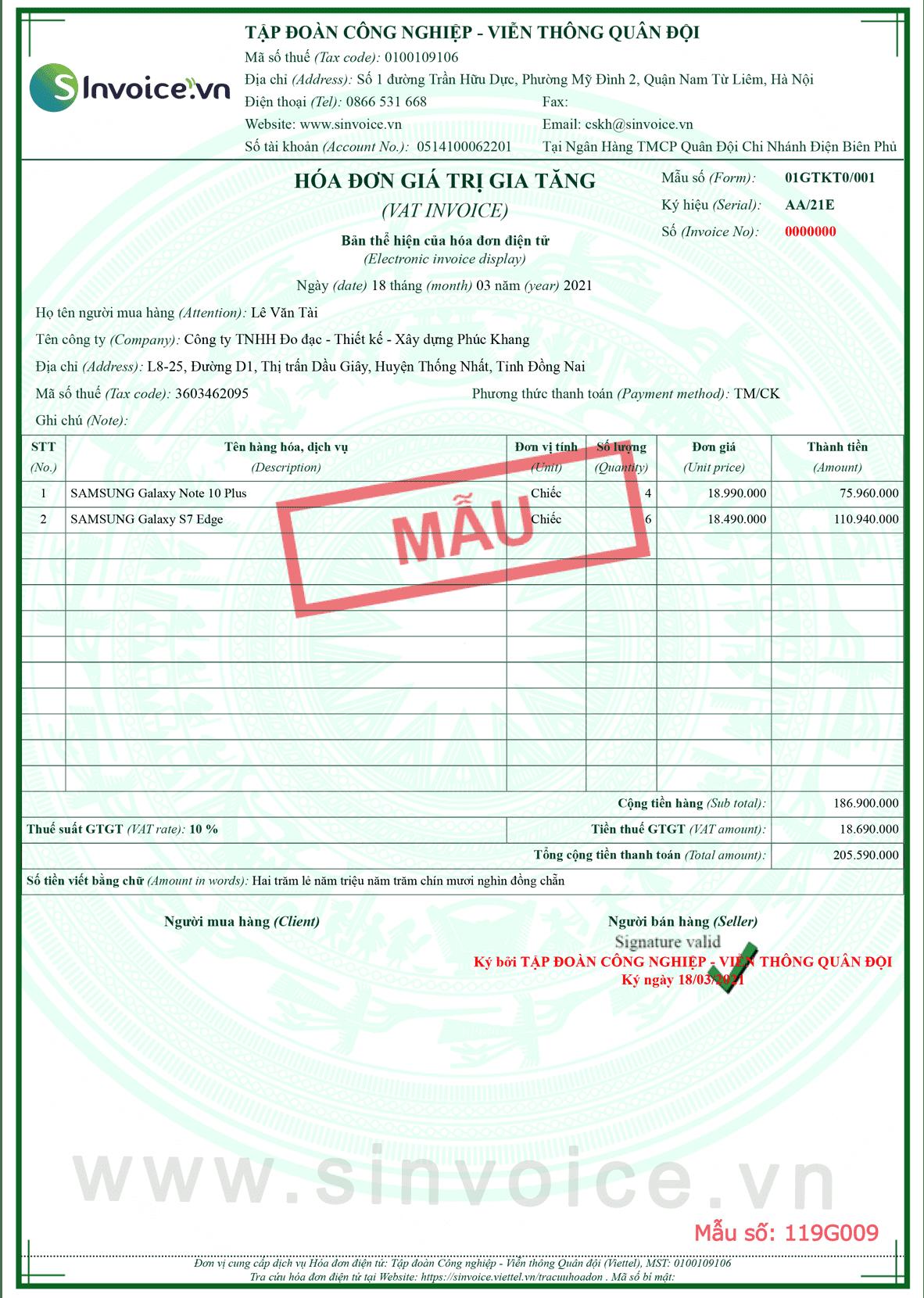 Mẫu hóa đơn điện tử số 119G009