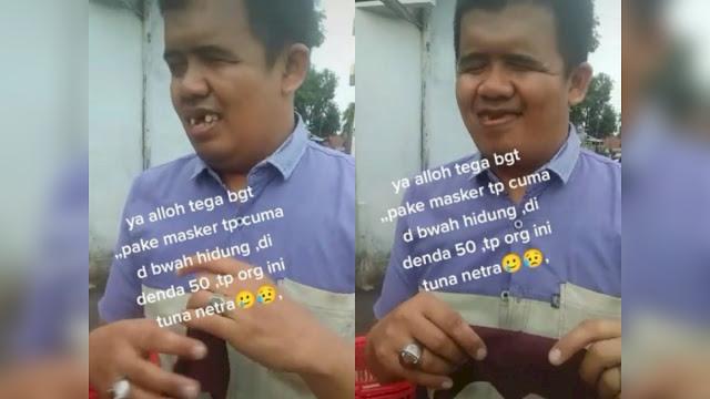 Sedih! Pria Tunanetra Dirazia karena Pakai Masker di Bawah Hidung, Kena Denda Rp50 Ribu