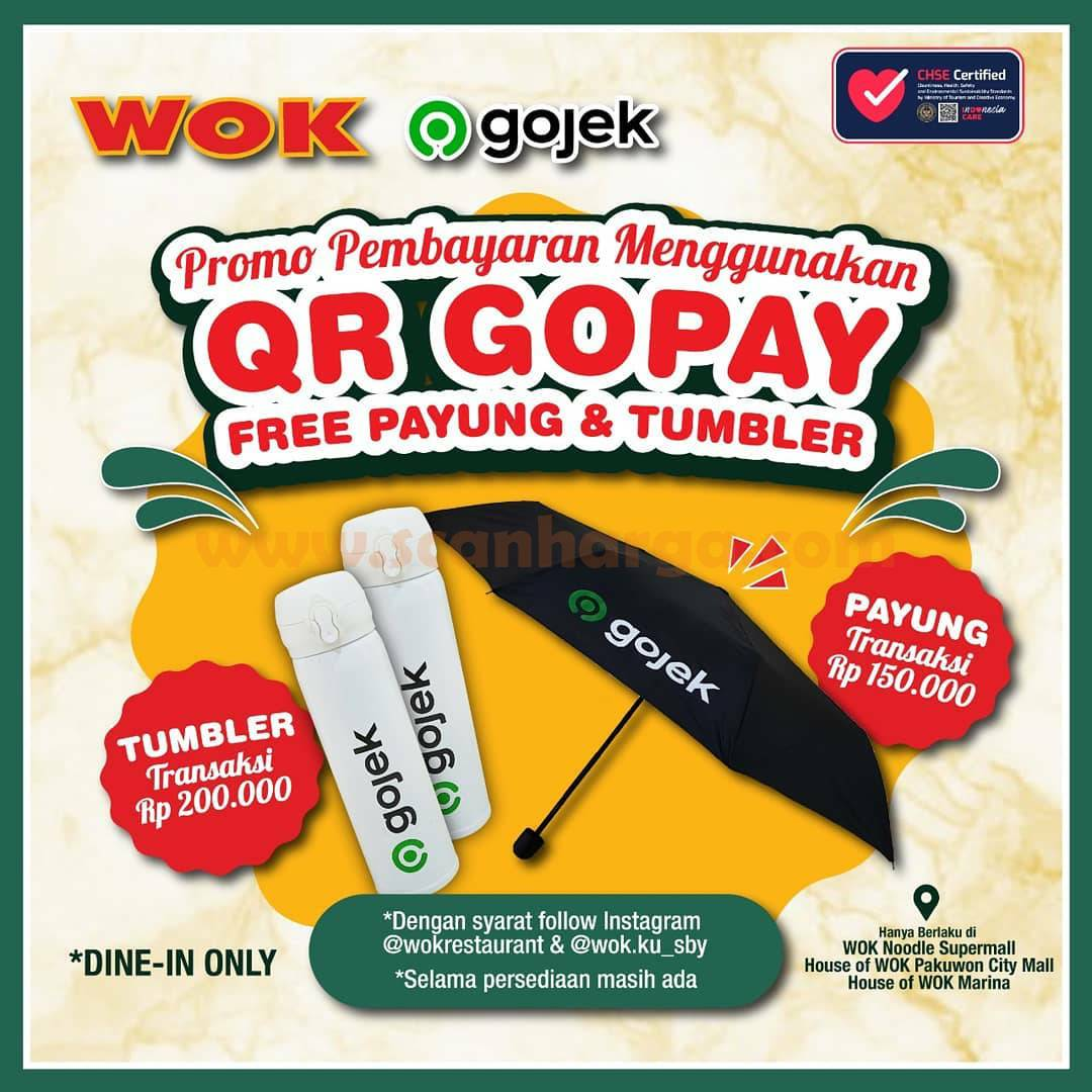 WOK Restaurant Promo GRATIS Payung & Tumbler dengan QR GOPAY